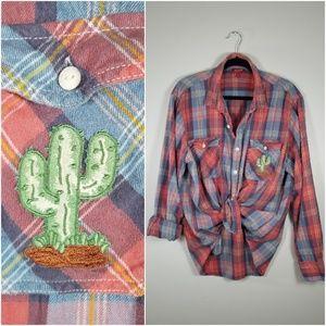 Saguro Cactus Patch Cotton Plaid Flannel Button Dn